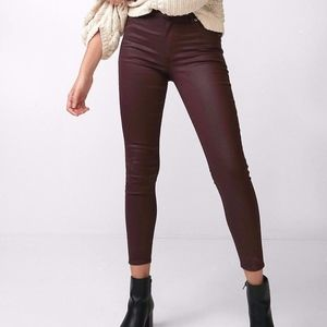 EXPRESS High Waisted Coated Stretch Ankle Jean Leg